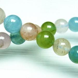 ミックスカラー ベリル ブレスレット 緑柱石 8mm t237-2276|seian