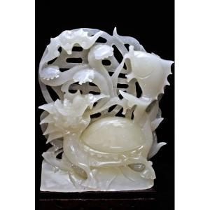 1.5Kg 漢白玉 手彫り 龍亀 置物 t756-467 seian