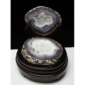 ウルグアイ産 ペア水晶トレジャーメノウ パワーストーン 天然石 t605-2210|seian