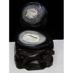 1.3Kg ペア水晶トレジャーメノウ パワーストーン 天然石 t605-2482|seian