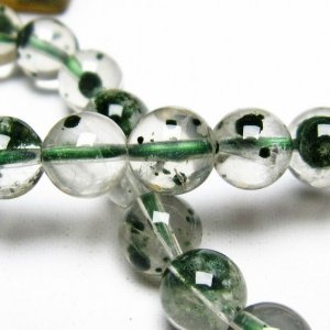 メタモルフォーゼス緑針入り 水晶 丸玉 ブレスレッ7mm t682-177 seian