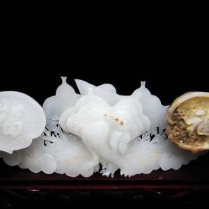 漢白玉 如意 置物 パワーストーン 天然石 t756-347|seian