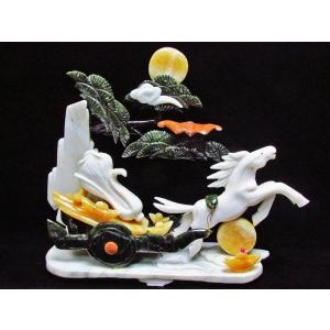 3.4Kg 漢白玉 トパーズ 手彫り 開運 天を駆る馬 彫刻品 置物 同梱不可 パワーストーン 天然石 t768-1233|seian|02