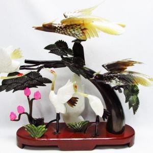 1.9Kg インド翡翠 吉祥 長寿 鶴の彫刻品 置物 同梱不可 パワーストーン 天然石 t768-1236|seian