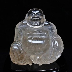 2Kg ライトニング水晶 手彫り 布袋様手 置物 M132-138 あすつく