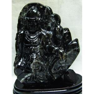 1.8Kg 黒水晶 手彫り 観音 置物 M157-166 あすつく