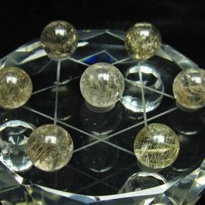 ルチル入り 水晶 丸玉 七星陣12mm  M158-24|seian