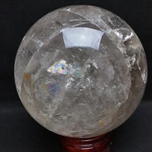 4Kg 虹入り ライトニング水晶 丸玉 142mm M56-566 あすつく