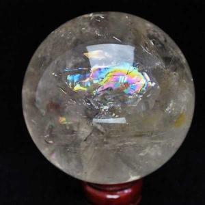 1.2Kg 虹入り ライトニング水晶 丸玉 95mm  m56-688 seian