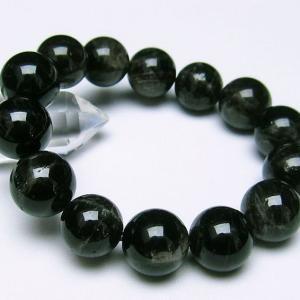 モリオン 純天然 黒水晶  ブレスレット 16mm  t112-2472|seian