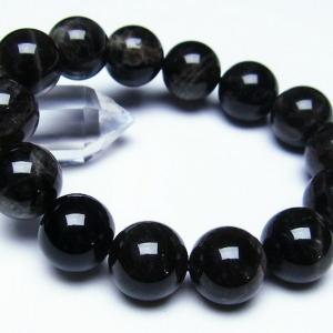 モリオン 純天然 黒水晶  ブレスレット 16mm  t112-2610|seian