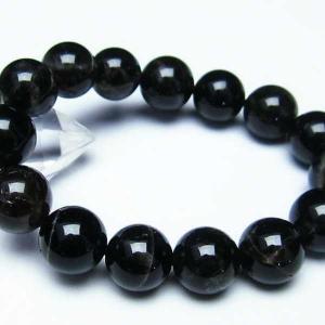 モリオン 純天然 黒水晶  ブレスレット 14mm  t112-2690|seian