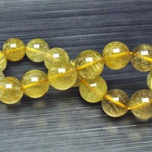 ゴールドタイチンルチル ブレスレット 13mm  t116-9796|seian