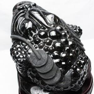 11.3Kg モリオン 純天然 黒水晶 金蟾 同梱不可  t130-1947|seian