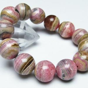 【インカローズ(ロードクロサイト)】  インカローズはばら色の美しい模様を持った石です。様々な色合い...