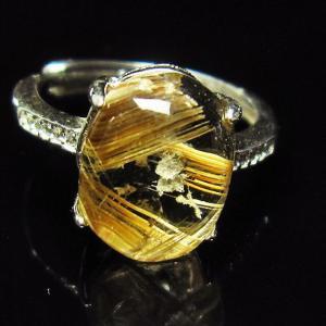 ゴールドタイチンルチル 指輪  t164-4654 seian