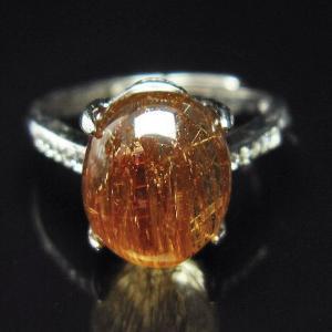 ファイナルグレードルチルクォーツ(金針ルチル水晶) 指輪 (15号) t164-4877|seian