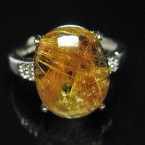 ファイナルグレードルチルクォーツ(金針ルチル水晶) 指輪 (12号) t164-4912 seian