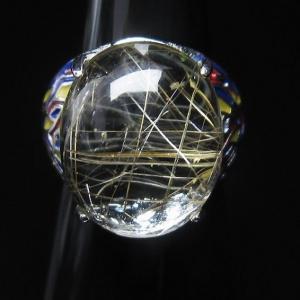 プラチナルチル入り水晶 指輪 (17号) t164-5037 seian