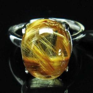 ゴールドタイチンルチル 指輪 (17号) パワーストーン 天然石 t164-5340 seian