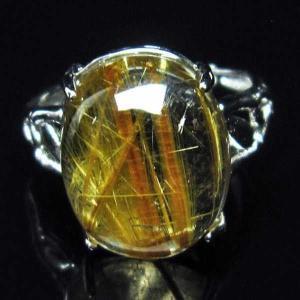 ゴールドタイチンルチル 指輪 (16号) パワーストーン 天然石 t164-5427 seian