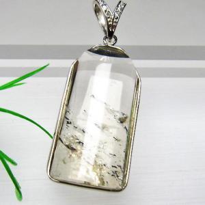 スティブナイト(輝安鉱)入り 水晶 ペンダント  T252-1214 seian