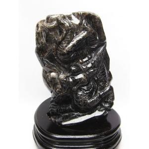 2Kg 黒水晶 手彫り 龍 置物 T261-1027 あすつく