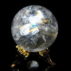 水晶玉 天然 置物 ヒマラヤ水晶 丸玉 24mm 虹入り パワーストーン 天然石 t294-2872|seian