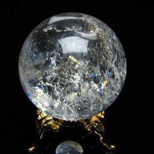 水晶玉 天然 置物 ヒマラヤ水晶 丸玉 33mm 虹入り パワーストーン 天然石 t294-2939|seian