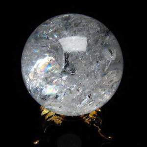 水晶玉 天然 置物 ヒマラヤ水晶 丸玉 34mm 虹入り t294-2940|seian