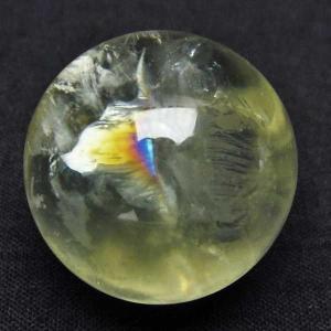 虹入り シトリン水晶 丸玉 24mm  パワーストーン 天然石 t318-3386|seian