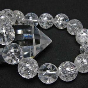 クラック水晶 ブレスレット 14mm  t33-9050|seian