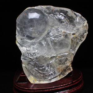 1.9Kg トルマリンルチル虹入り ヒマラヤ水晶極上龍 置物 T42-359 あすつく