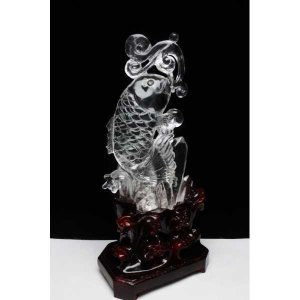 1.4Kg ヒマラヤ水晶 手彫り 魚 彫刻品 置物 パワーストーン 天然石 t42-392|seian