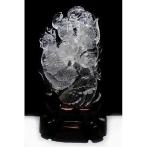 2.9Kg ヒマラヤ水晶 トルマリン入り 手彫り 龍鳳 彫刻品 置物 パワーストーン 天然石 t42-394|seian