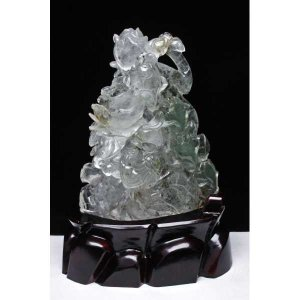 3.4Kg グリーンファントム ヒマラヤ水晶 花と鳥の彫刻品  置物 パワーストーン 天然石 t42-398|seian