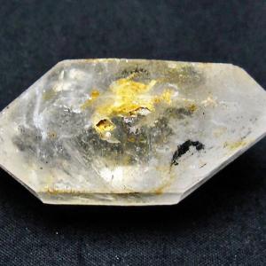 水入り スティブナイト(輝安鉱)入り  | ハーキマーダイヤモンド水晶 原石 T443-3749
