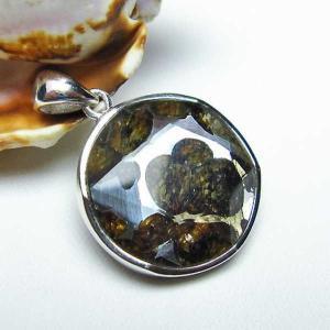 パラサイト隕石 かんらん石  大衛星 ペンダント  パワーストーン 天然石 t453-2338|seian