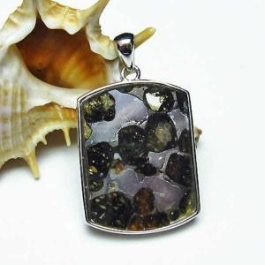 パラサイト隕石 かんらん石  ペンダント  パワーストーン 天然石 t453-2351|seian