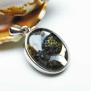 パラサイト隕石 かんらん石  ペンダント  パワーストーン 天然石 t453-2389|seian