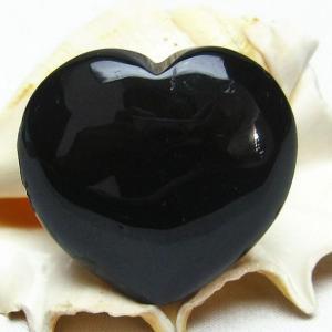モリオン 純天然 黒水晶 ハート  置物 t457-2653|seian