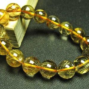 ゴールドタイチンルチル ブレスレット 12mm  パワーストーン 天然石 t6-5493|seian