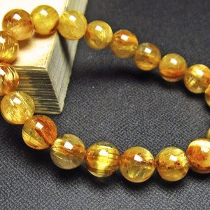ゴールドタイチンルチル ブレスレット 10mm  t6-5544|seian
