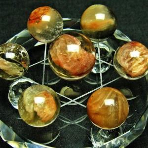 レッドファーデン水晶 丸玉 七星陣17mm t637-1183|seian