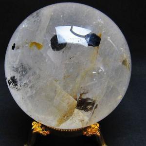 1Kg ガーデンルチル水晶 丸玉 90mm  t637-1338 seian
