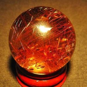 ルチル入り 水晶 丸玉 34mm t637-3444|seian