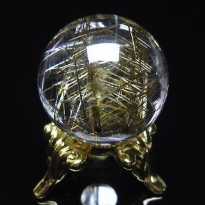 放射プラチナルチル入り ガーデンクォーツ(庭園水晶)丸玉 21mm  t637-3577 seian