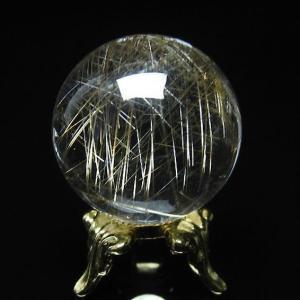 ガーデンクォーツ(庭園水晶)放射プラチナルチル入り水晶 丸玉 27mm  t637-3604|seian