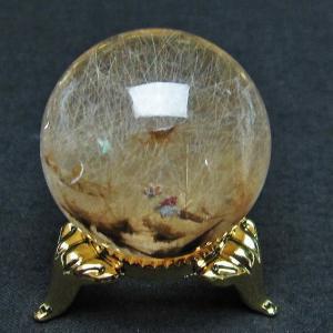 放射ルチルクォーツ(金針ルチル水晶) 丸玉 32mm  t637-4012|seian