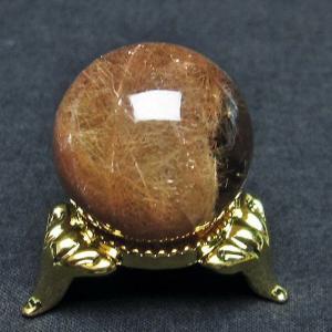 放射ルチルクォーツ(金針ルチル水晶) 丸玉 25mm  t637-4018|seian